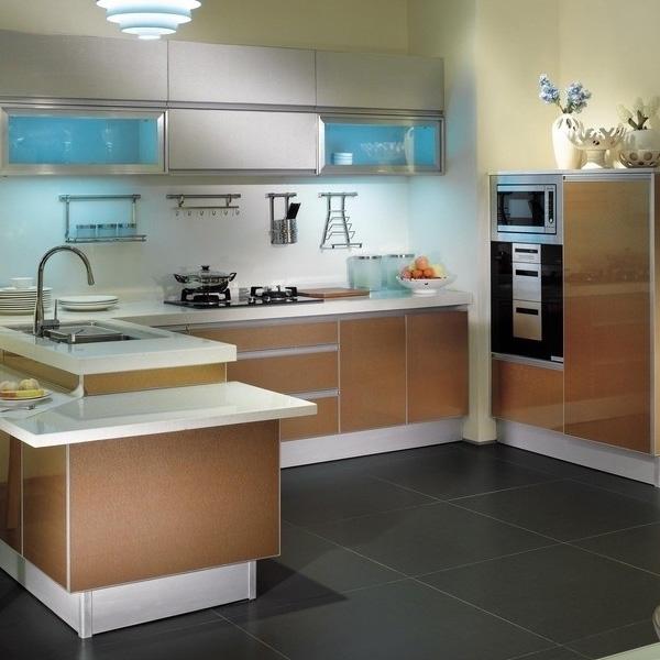 晶钢门橱柜效果图 晶钢门橱柜 香槟色晶钢门厨柜   晶钢门橱